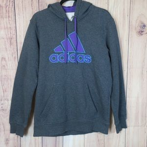 ADIDAS | Gray & Purple Logo Hoodie Size Medium